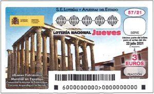 Lotería Nacional Jueves (3€) 22/07/2021
