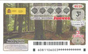 Lotería Nacional Jueves (3€) 14/10/2021